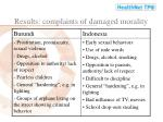 results complaints of damaged morality