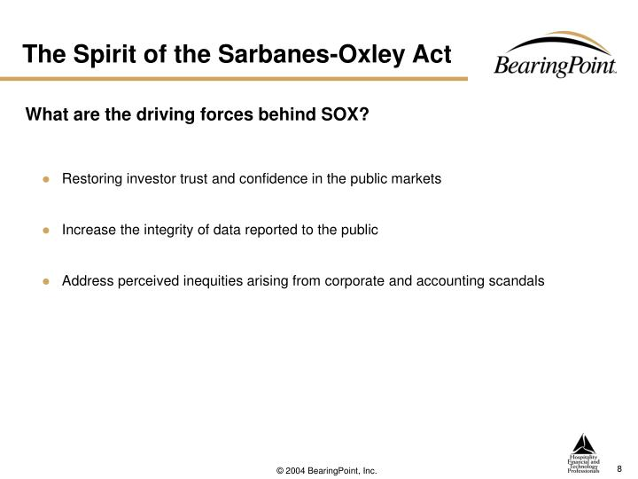 The Spirit of the Sarbanes-Oxley Act