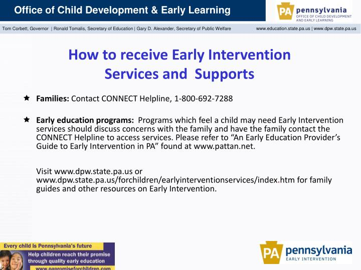 How to receive Early Intervention