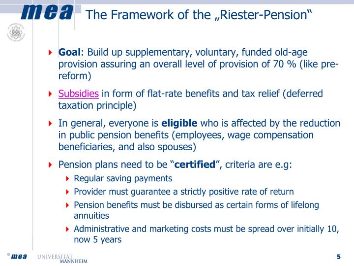 """The Framework of the """"Riester-Pension"""""""