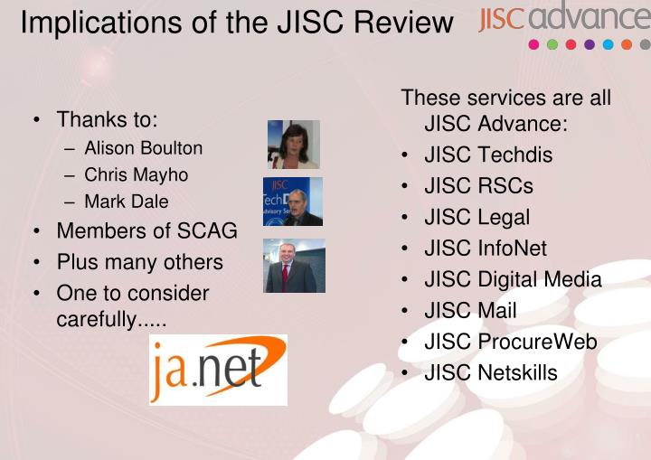 Implications of the jisc review