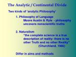 the analytic continental divide27
