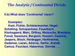 the analytic continental divide29
