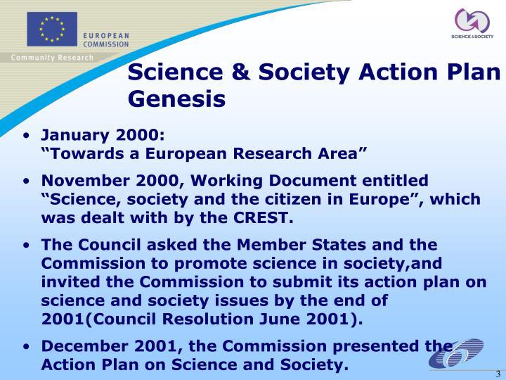 Science society action plan genesis