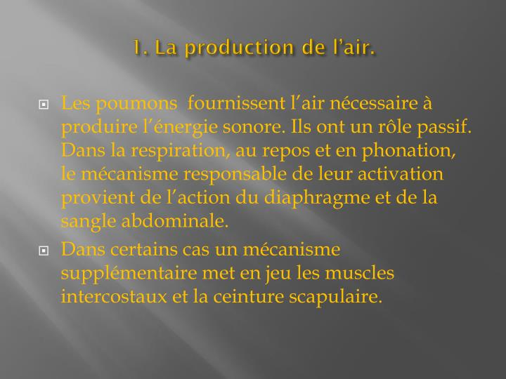 1. La production de l'air.