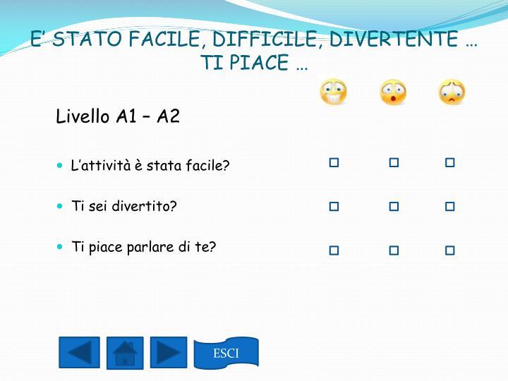 Livello A1 – A2