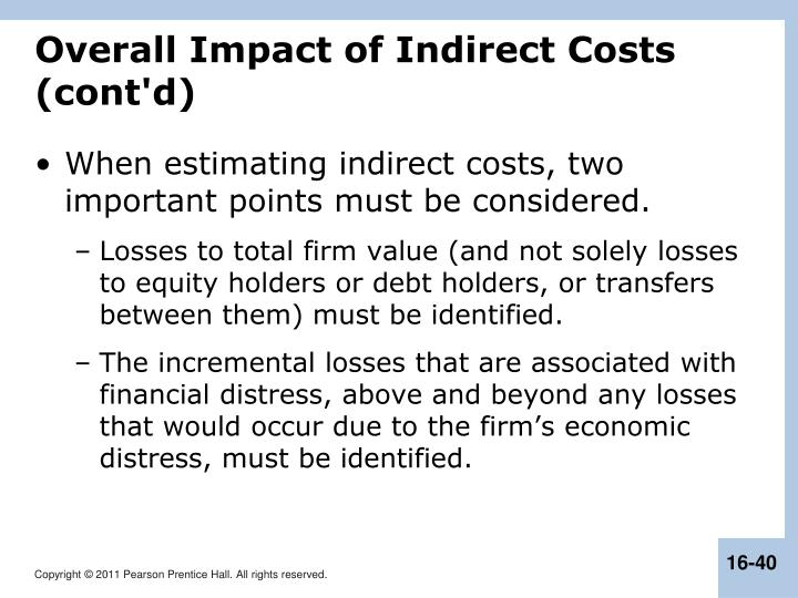 Overall Impact of Indirect Costs (cont'd)