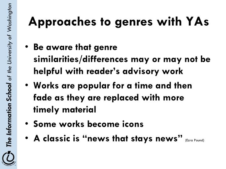 Approaches to genres with YAs