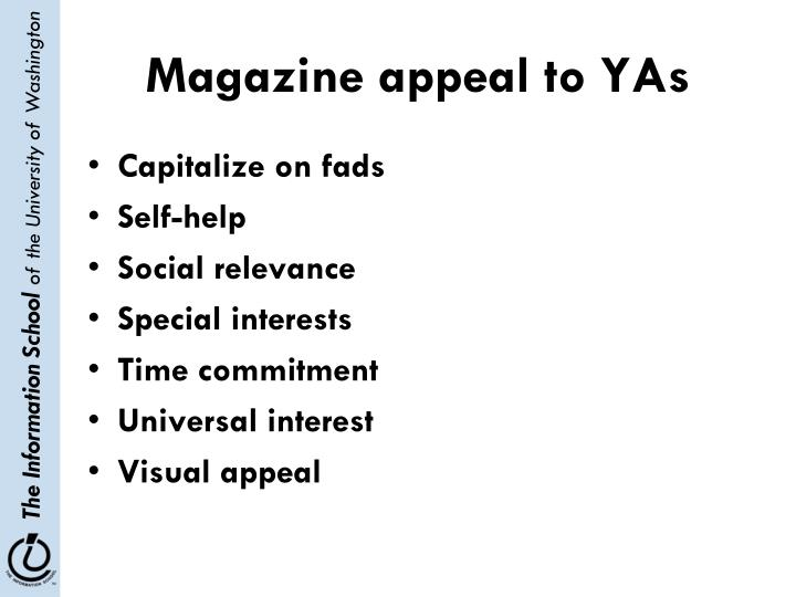 Magazine appeal to YAs