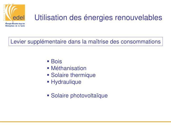 Utilisation des énergies renouvelables