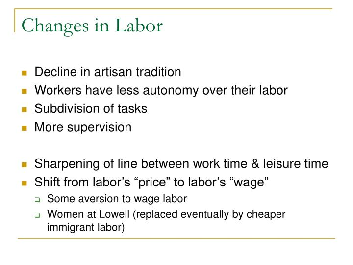 Changes in Labor