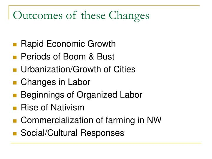Outcomes of these Changes