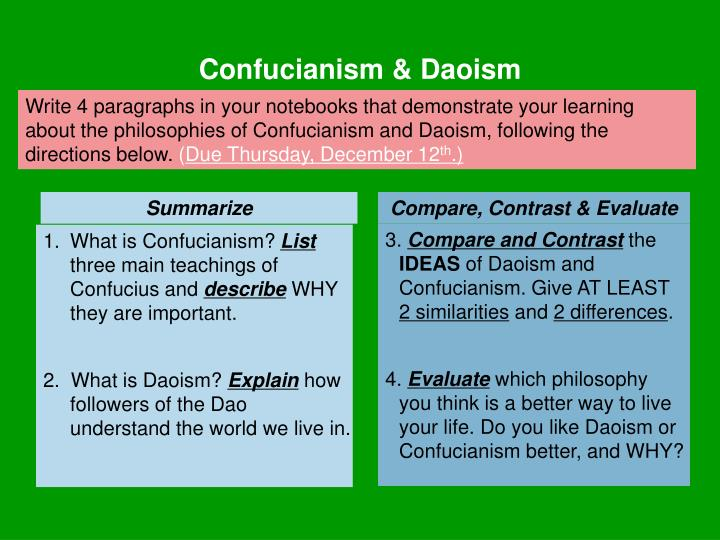 confucianism vs daoism taoism compare and contrast confuci Compare contrast confucianism taoism essay confucius philosophies underscore the ideals of commitment and confucianism vs daoism taoism compare and contrast.