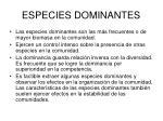 especies dominantes