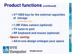 product functions continued