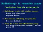 radiotherapy in resectable cancer
