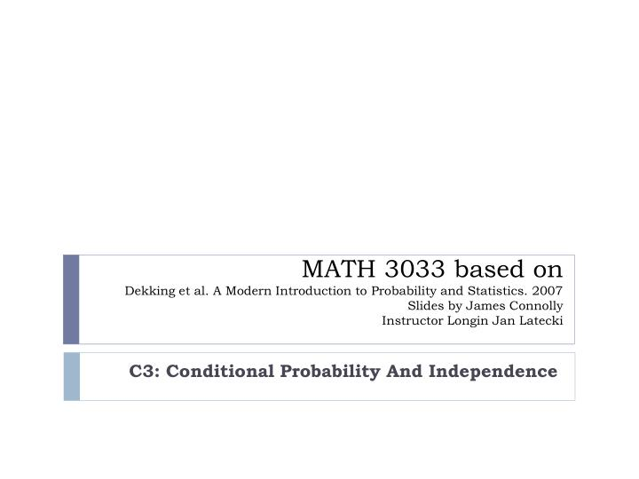 c3 conditional probability and independence n.
