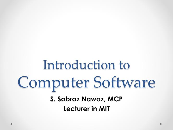 introduction to computer software