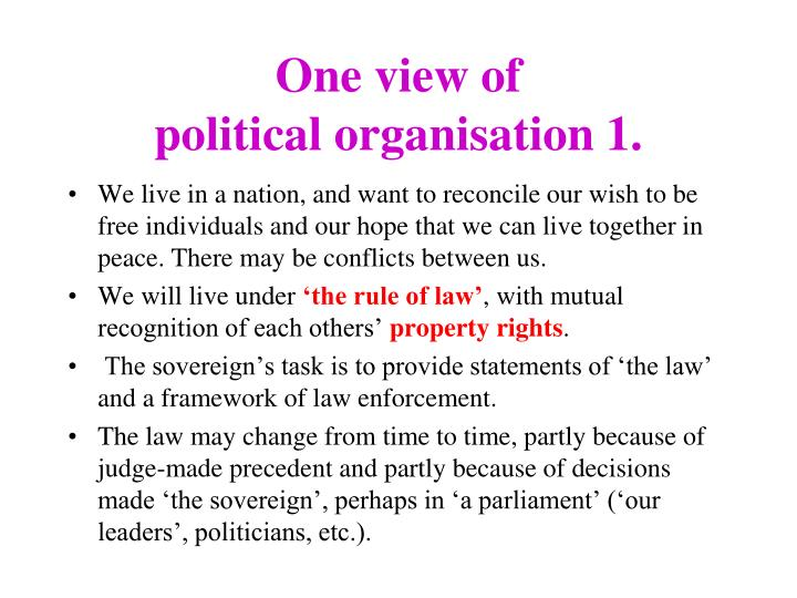 one view of political organisation 1 n.