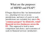 what are the purposes of mifid and fsap