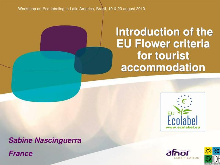 introduction of the eu flower criteria for tourist accommodation n.