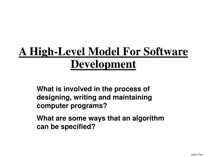 a high level model for software development n.