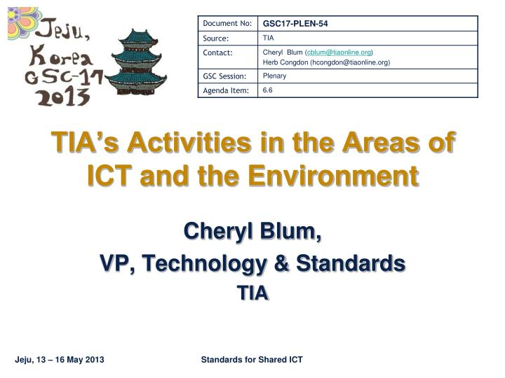 tia s activities in the areas of ict and the environment n.