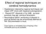 effect of regional techniques on cerebral hemodynamics