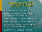 background of ab 2588 hot spots program