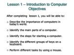 lesson 1 introduction to computer objectives