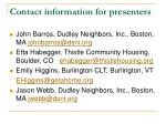 contact information for presenters