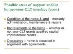 possible areas of support and or homeowner clt interface cont