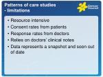 patterns of care studies limitations
