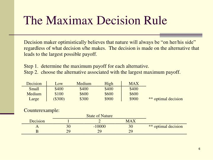 The Maximax Decision Rule
