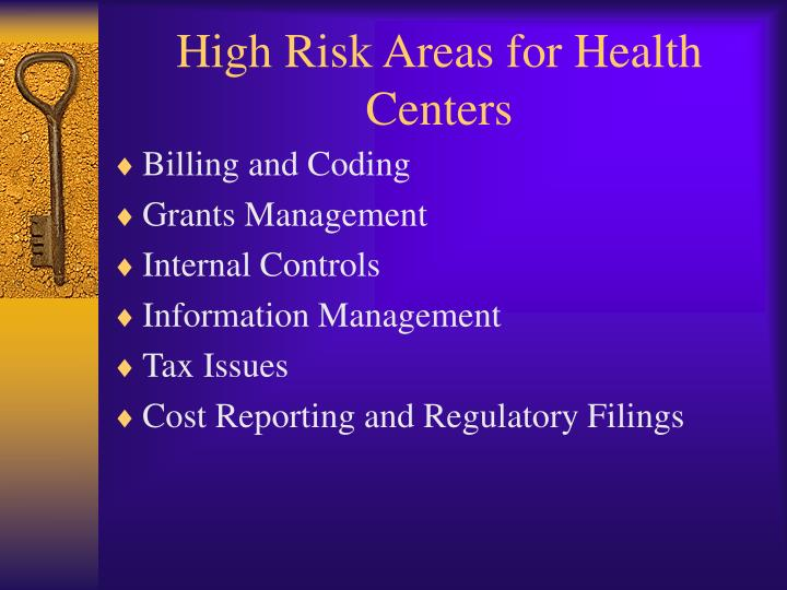 High risk areas for health centers