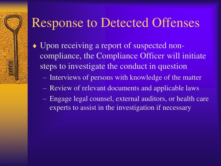 Response to Detected Offenses