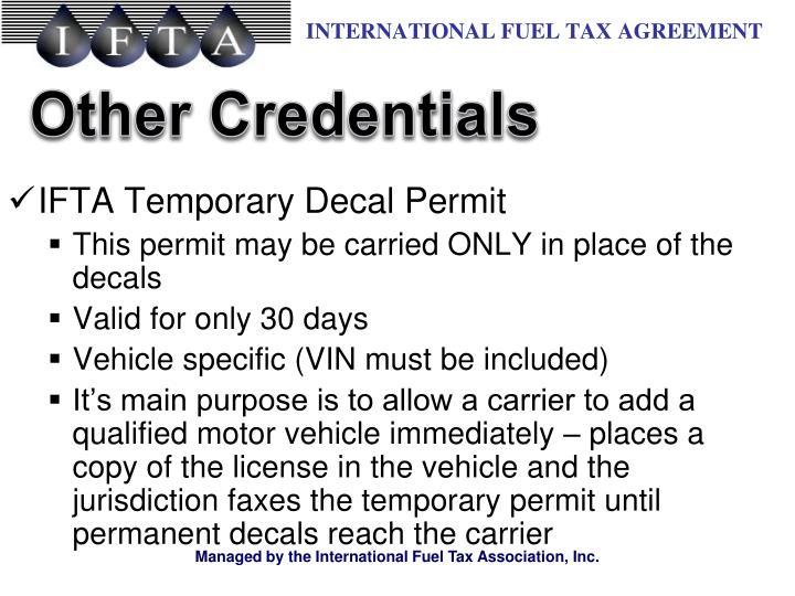IFTA Temporary Decal Permit