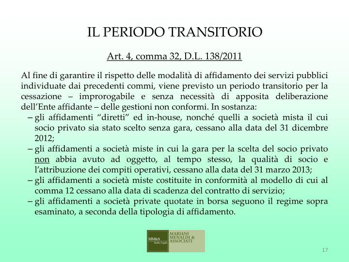 IL PERIODO TRANSITORIO