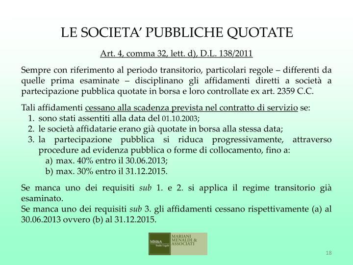 LE SOCIETA' PUBBLICHE QUOTATE