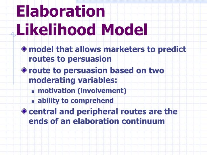 essay elaboration likelihood model This dissertation, which comprises three essays, examines the effects of charity website characteristics on people's attitudes and online donation behaviors based on the elaboration likelihood model of persuasion (essay 1), the halo effect (essay 2), and self-schema, congruity, and visual rhetoric (essay 3.
