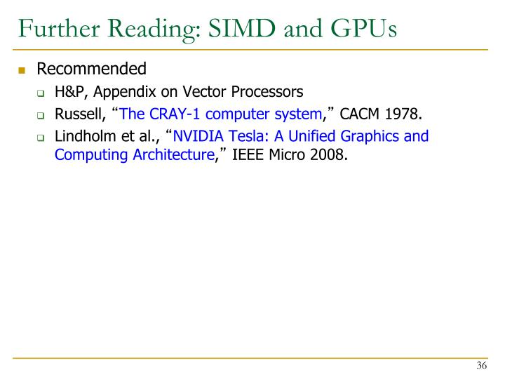 Further Reading: SIMD and GPUs
