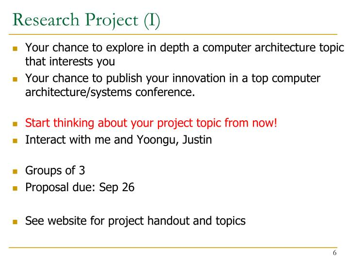 Research Project (I)