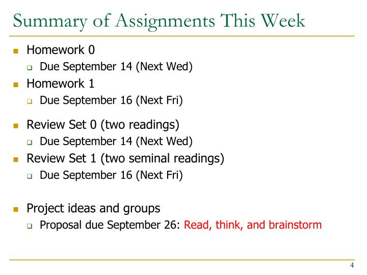 Summary of Assignments This Week