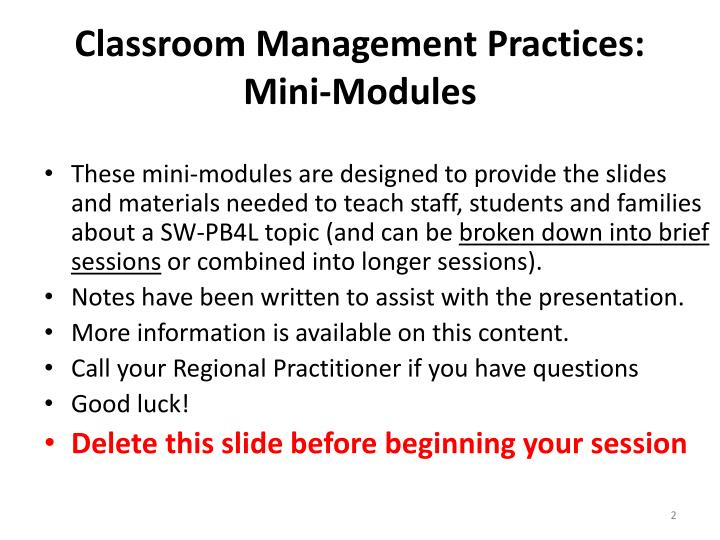 Classroom management practices mini modules