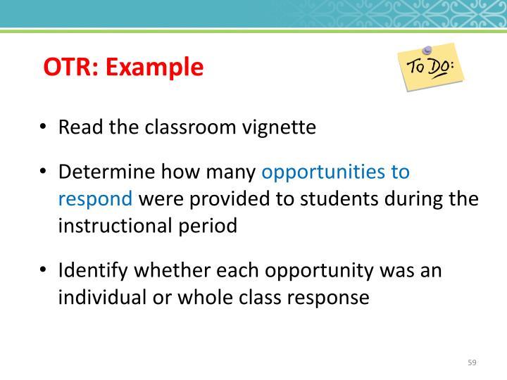 OTR: Example