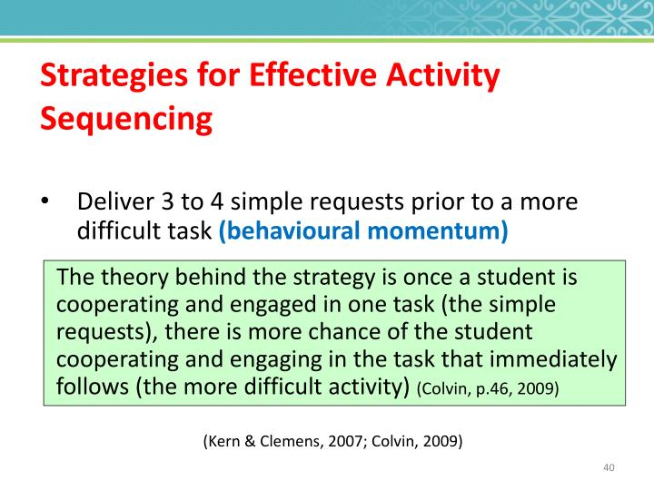 Strategies for Effective Activity Sequencing