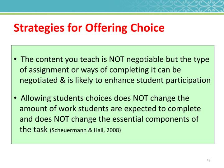 Strategies for Offering Choice