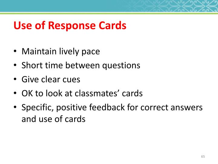 Use of Response Cards