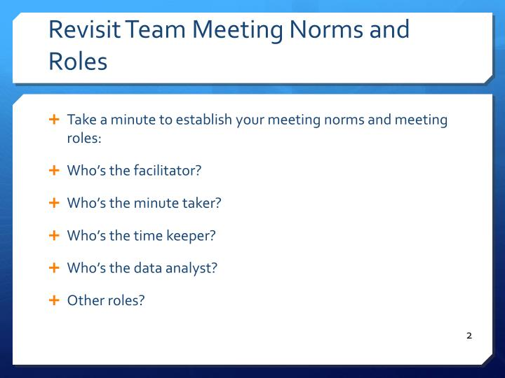 Revisit team meeting norms and roles