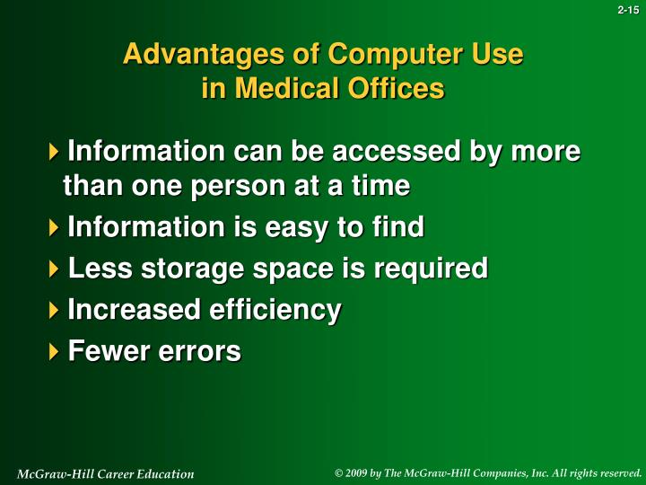 advantages of using computers Advantagesthe advantages of using computers is that we can do research and find a lot of information we may be looking for other advantages include typing out a document, essay, letter, or a.